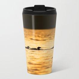 Birds Swimming At Sunset Reflection On The Lake #decor #society6 Travel Mug