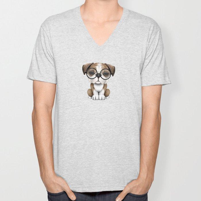 Cute English Bulldog Puppy Wearing Glasses on Blue Unisex V-Neck