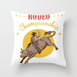 Bull Riding Rodeo Championship Cowboy Gift Wild West Throw Pillow