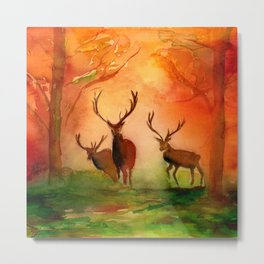Stags in Autumn Woodland in the Fall Watercolor Print Metal Print