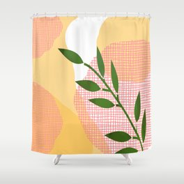 Watercolor Leaf Abstraction Orange and Pink Shower Curtain