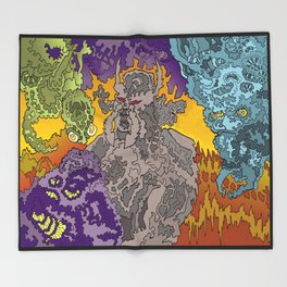 Other Worlds: The Mushroom Gathering II Throw Blanket
