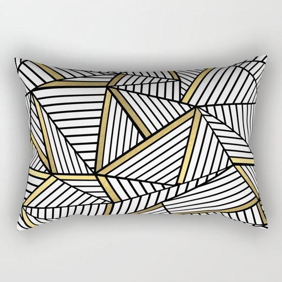 Ab Lines 2 White Gold Rectangular Pillow