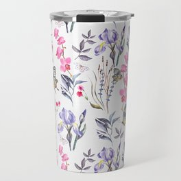 Pink lavender watercolor hand painted orchid floral butterfly Travel Mug