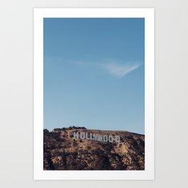 Vintage Retro Hollywood Sign Los Angeles California Colored Wall Art Print Art Print