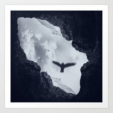 spaces xvii - cave mouth with bird Art Print