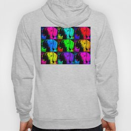 Colorful Pop Art Dachshund Doxie Face Closeup Tiled Image Hoody