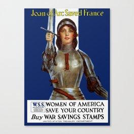 Joan of Arc Saved France - World War I Poster Canvas Print