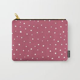 Snow polka dot on pink rose Carry-All Pouch