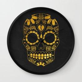 Golden Skull Wall Clock