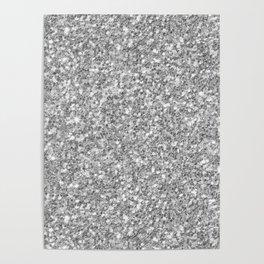 Silver Gray Glitter Poster