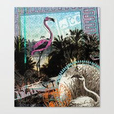 Palm trees and flamingos Canvas Print