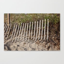 Beach fence with erosion Canvas Print