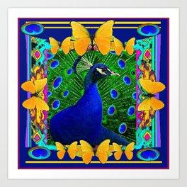 Decorative Blue Peacock & Yellow Butterflies Art Art Print