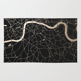 London Black on Gold Street Map II Rug