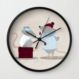 Mom and baby mice Wall Clock