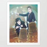 enerjax Art Prints featuring Sherlock and Ten by enerjax