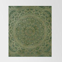 Mandala Royal - Green and Gold Throw Blanket