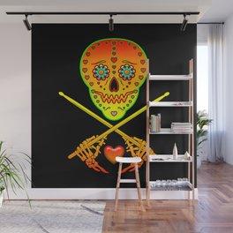 Neon Sugar Skull Drummer. Wall Mural