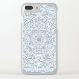 Dedication to Lucy (gray-blue) Clear iPhone Case