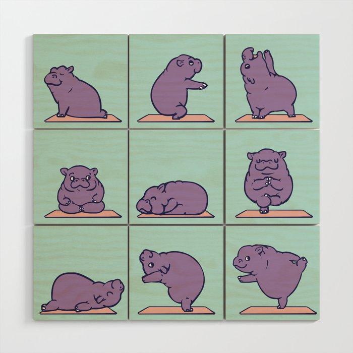 Baby Hippo Yoga Wood Wall Art by huebucket | Society6