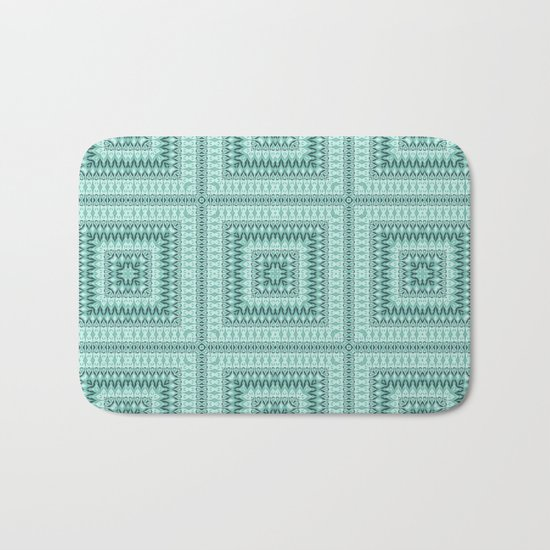 Ornament ethnic square in shades of green . Bath Mat