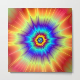 Blasted Blue Red and Yellow Metal Print