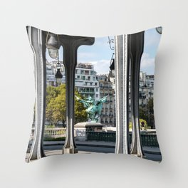 Pont de Bir-Hakeim in Paris Throw Pillow