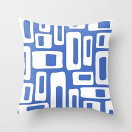 Retro Mid Century Modern Abstract Pattern 335 Blue Throw Pillow