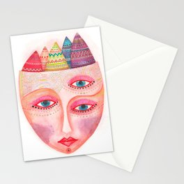 girl with the most beautiful eyes mask portrait Stationery Cards