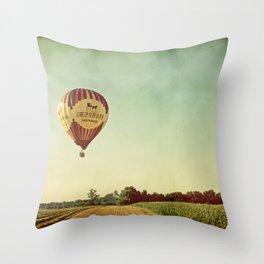Hot Air Balloon Over Farmland Throw Pillow