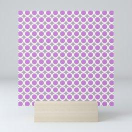 Lilac, gray and white small diamond rhombus pattern Mini Art Print