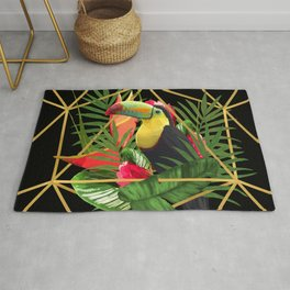 Bold Golden Geometric Tropical Bouquet With Toucan Rug