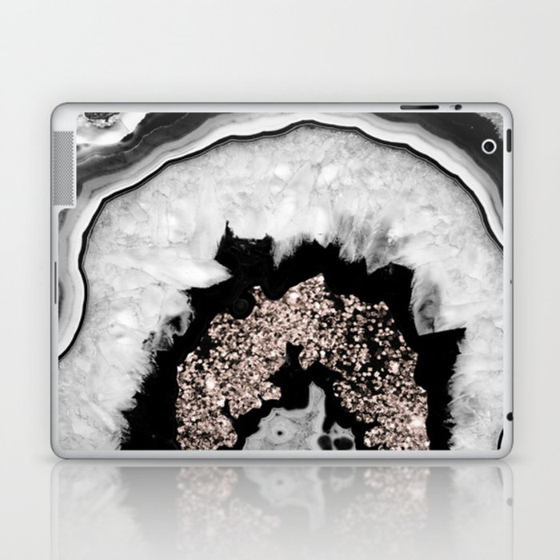 Gray Black White Agate with Rose Gold Glitter #1 #gem #decor #art #society6 Laptop & iPad Skin