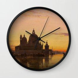 Venice Sunset at Santa Maria della Salute by Edwin William Cooke Wall Clock