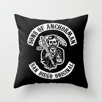 anchorman Throw Pillows featuring Sons of Anchorman by Brandon Wilhelm ART