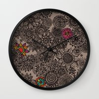 flower pattern Wall Clocks featuring Flower Pattern by Aubree Eisenwinter