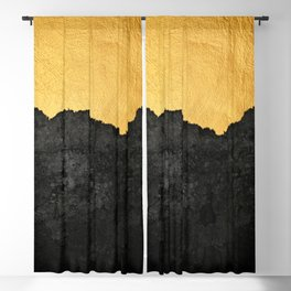 Black Grunge & Gold texture Blackout Curtain