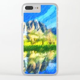 Reflection in Merced River of Yosemite waterfalls Clear iPhone Case