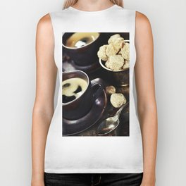 freshly prepared  italian espresso with coffee beans and sugar Biker Tank