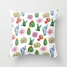 Cactus Watercolor Throw Pillow