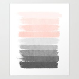Color story millennial pink and grey transition brushstrokes modern canvas art decor dorm college Art Print