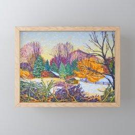 Horse Shed in Winter Framed Mini Art Print