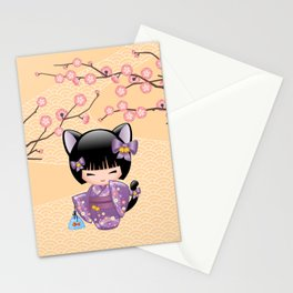 Japanese Neko Kokeshi Doll V2 Stationery Cards