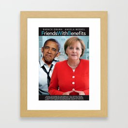 Obama and Merkel in Friends with Benefits Framed Art Print