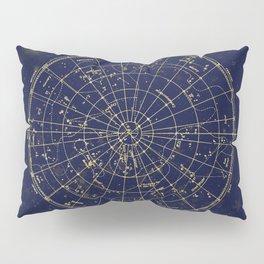 Metallic Gold Vintage Star Map 2 Pillow Sham