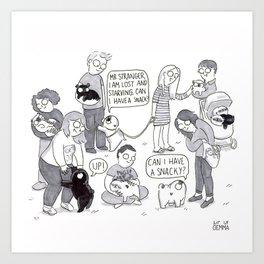 Pug meet up Art Print