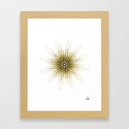 Yellow minimalist geometric mandala Framed Art Print