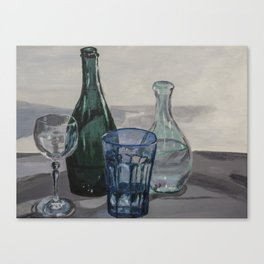 Bottles, glasses, still life with wine glass Canvas Print