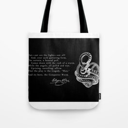 Conqueror Worm - White on Black Tote Bag